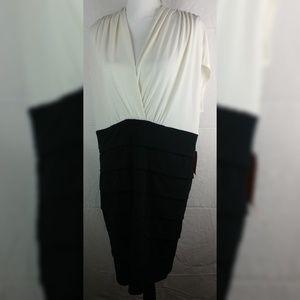 Enfocus Black White Faux Wrap Layered Dress 18W